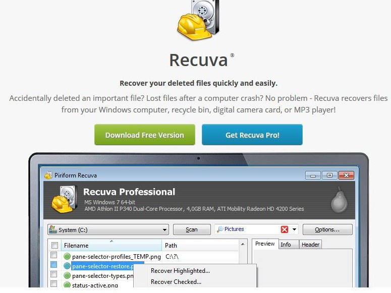 Recuva - Recover Data From A Hard Drive