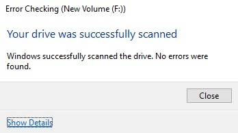 Drive was successfully scanned