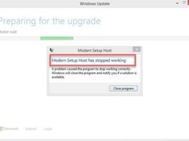 Modern Setup Host Has Stopped Working While Upgrading To Windows 10