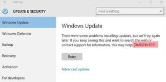 Windows Update Error Code 0x8024a105