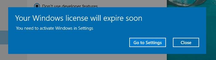 Your Windows License Will Expire Soon Error in Windows