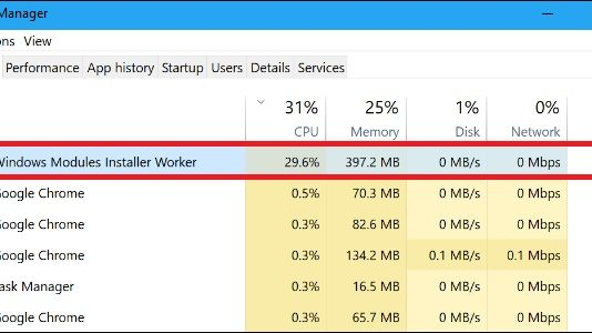 Windows Modules Installer Worker Issues